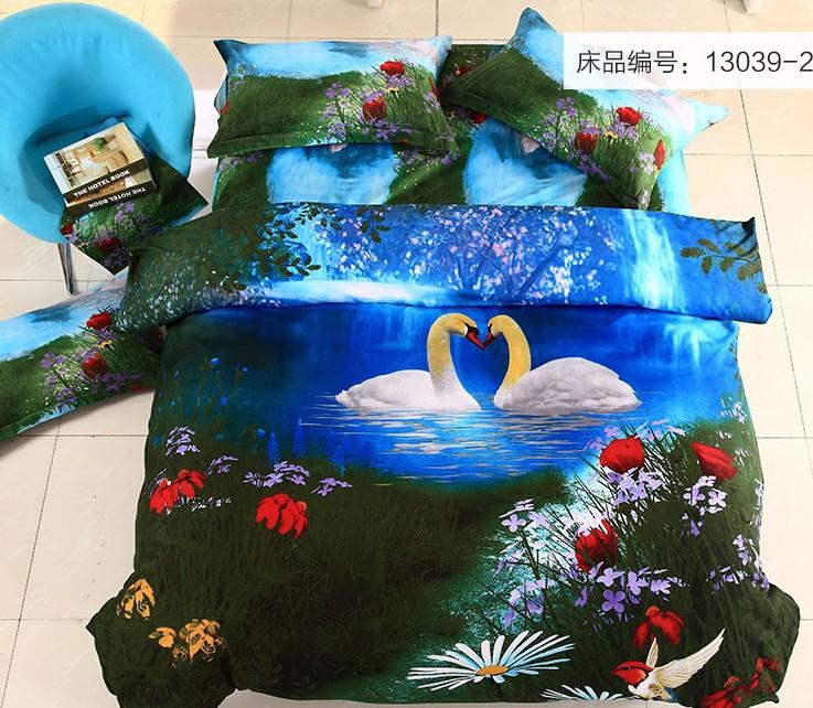 linen set 3D oil printing quilt cover comforter set duvet cover bed sheet linens bed set bedclothes quilt flower animal bedcover(China (Mainland))