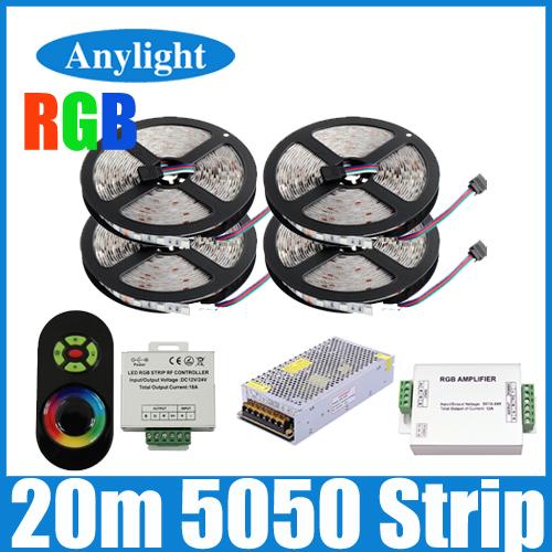 20m 5050 lumière rgb bande flexible led smd 60leds/m strip+18a tactile sans fil à distance controller+24a amplifier+20 un pouvoir wled25