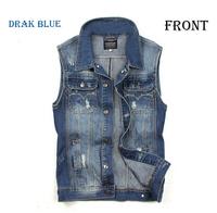 spring 2014 new fashion men vintage sleeveless outerwear denim vest men cardigan a waistcoat plus size denim jacket coat M-XXL