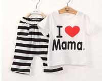 Retail Children T shirts New 2014 Fashion Summer Baby Boys Girls Clothing set I Love Papa and Mama kids Clothes Sets