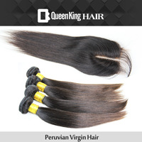 5A Grade Peruvian Virgin Silky Straight Unprocessed Human Hair extensions 4 bundles with lace closure weave on  Free Shipping