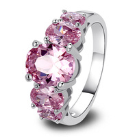 Fashion Jewelry Attractable Graceful Over Cut Pink Sapphire 925 Silver Ring Size 6 7 8 9 10 Women Rings Wholesale Free Shipping