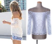 New 2014 summer European and American lace hollow yarn blouse blusa shorts women three Quarter Chiffon blouses blusas femininas