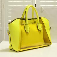 2014 New arrive hot selling fashion  women's handbag summer neon candy transparent smiley bag handbag messenger jelly bag z1588