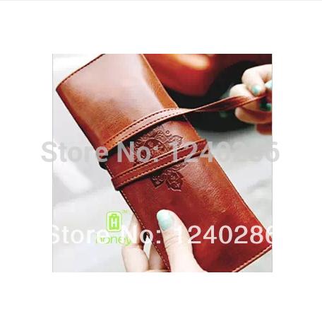 2014Twilight Multifunctional vintage leather pencil bag case large capacity stationery pen case 6 colors / Good quality(China (Mainland))