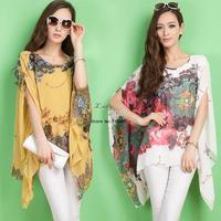 Hot Sale!!!2014 NEW CHIC Drop Shipping Sexy Women Ink Flower Print Chiffon shirt Batwing Loose Blouse Casual Tops B014 SV001830