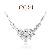 ROXI Gift Classic Genuine swiss zircon platinum Fashion Luxury Link Chain Necklace Flowers Pendant
