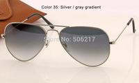 brand new men fashion brand name sunglasses women rb aviator sunglasses 3025 003/32 silver /w gradient grey lens 58mm in case