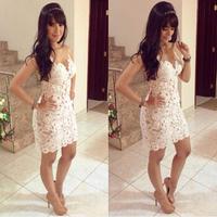 2014 Slim fit Design White Crochet Sexy Bandage Dress backless Prom Party dress lace vestidos de festa dresses women