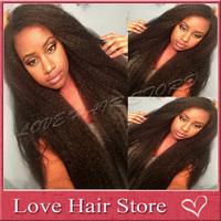 "Unprocessed brazilian virgin human hair kinky straight full lace wig 150 density 24"" italian yaki full lace wig with baby hair"