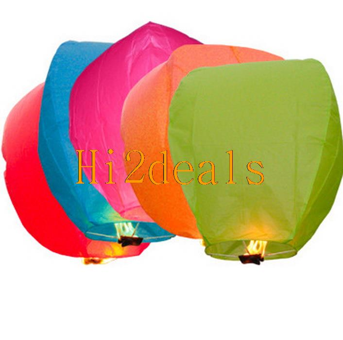 10pcs Multi-Color Paper Chinese Lanterns Fire Sky Fly Candle Lamp for Birthday Wish Party Wedding(China (Mainland))