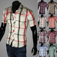 2014 new ,short Sleeve  plaid shirts for men,Man turn-down collar shirt,fashion slim style,Free shipping,drop shipping,5989