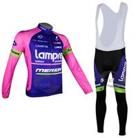 New 2014 cycling jersey set Costume Long sleeve Jersey shirts + Bib Long Pants cycling clothing Men S-3XL