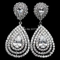 AAA Cubic Zirconia Teardrop Bridal Long Dangle Earrings for Women Imitated Gemstone Wedding Jewelry