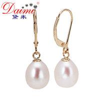 DAIMI Natural Pearl 14k Lever Back Earrings 9-10mm Tear Drop Freshwater Pearls Brand Jewelry Women's Favorite [NABILA]