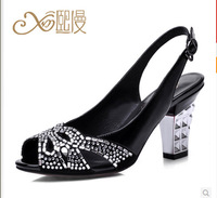 XIMAN2014 new leather sandals with thick black diamond fish head sexy heels. Hollow sandals.