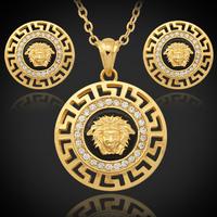 Hot Sale! Vintage Lion Head Myth Medusa Necklace Pendant Earrings 18K Gold Plated Rhinestone Fashion Jewelry Set Wholesale PE643