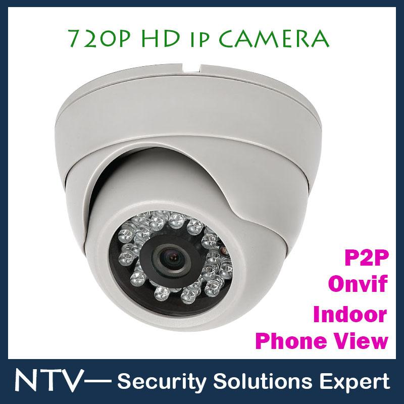 Cheapest Onvif 1280*720P HD 1.0MP Mini Dome IP Camera,IR Night Vision ip cam,P2P Plug Play CCTV Security camara,Free Phone view(China (Mainland))