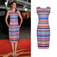 New 2014 Fashion Women Clothing Celeb Womens Colorful Striped Bodycon Dress Knee Length Pencil Ladies  Party Midi Dresses
