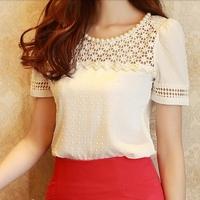 New 2014 summer elegant Office beading lace 3D cutout slim short sleeve S-XXXXXL Plus size chiffon blouse shirt tops for Women