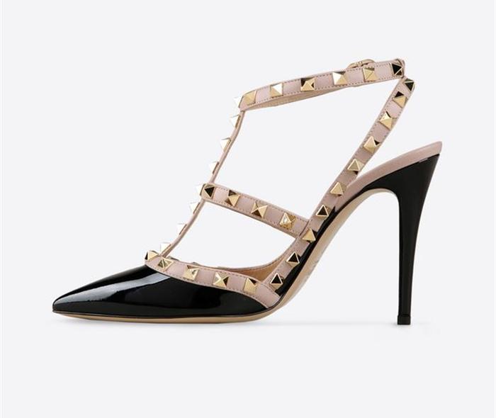 Heiße frauen pumps damen sexy spitzen- toe 6.5-10cm high heels marke mode zwei riemen mit sandalen größe us4-9( 22 Farben)