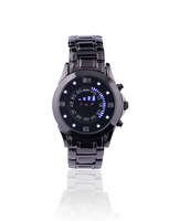 2015 brand new   Stainless Steel Luxury Black Men's Clock Fashion Blue Binary Sports LED Watch Watches Free shipping