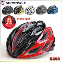 2014 New Sportwolf Sports Safety Mountain Bike Integrally-Molded Helmet L 58-62 Cm D-200 LED Light cycling helmet yellow