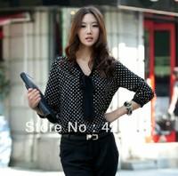 2014 New Bow Polka Dots Printing Woman Lady Fashion Chiffon Blouses Tops Shirts For Ladies Black White Freeshipping#CGS004