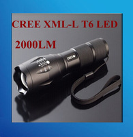 Torch Zoomable Cree LED Flashlight 1X CREE XM-L T6 LED 2000Lumens 3 switch modes Torch light for 1x18650 or 3xAAA free shipping