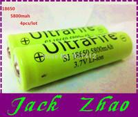 Drop 4pcs/lot Ultrafire rechargeable 18650 batteries 3.7V 5800mAh Lithium li-ion batteri led Flashlight Torch battery diy batery