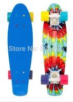 New Arrival Tie Dye 22Inch Plastic Mini Cruiser Skateboard Old School Long Board Banana Retro Skate Longboard Penny Board