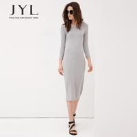 New 2014 JYL FASHION long sleeve gray jersey long cotton dress women clothes,vestidos casual midi dress desigual summer 2014