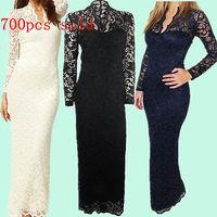 Sexy Women Long Sleeve V Neck Lace Dress Club Evening Party Long Dress S M L XL XXL