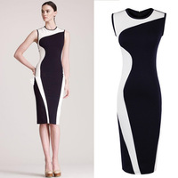 2014 New Sexy&Club Women Package Hip Bandage Dresses Sleeveless Tank Bodycon Dress Vestidos, Blue+Black, Black+White, S, M, L,XL