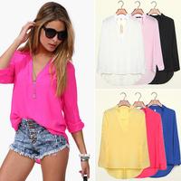 FanShou Free Shipping Spring 2014 Women Summer Temperament Casual Shirts Fashion Long Sleeve V Neck Tops Chiffon Blouses