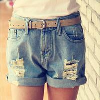 Retail Hot Sale Denim Women Shorts Sexy Summer Hole Destroyed Shorts Jeans Plus Size High Waisted Jeans Short Feminino