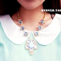 fashion exquisite all-match gold plated rhinestone pendant necklace