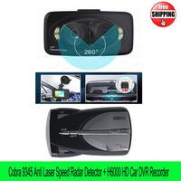 Free shipping Cobra XRS 9345 Radar Anti Laser Speed Detector English/Russian+H6000 3 Lens Car DVR Recorder 360 Degrees Panoramic