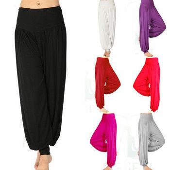 Женщины дамы твердые гарем йога спортивные вспышки модальные брюки живота эластичный пояс танец клуб бохо широкую ногу брюки широкий длинные брюки