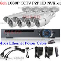 Hom onvif 8ch 960H 1080P CCTV P2P HD NVR kit+4x720P outdoor 1mega pixel IP camera security network mobile Security System