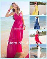 2014 New Hot Women Lady Sexy Cut Backless Spaghetti Strap V-Neck Beach Seaside Resort Big Swing Ankle-Length Bohemian Sun Dress