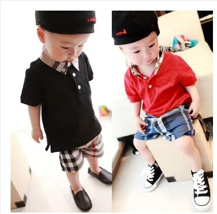 Free shipping 2014 Summer Boy gentleman suit POLO T shirts & Plaid shorts Modern Baby Boy Set kids clothes Retail(China (Mainland))