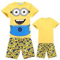 2014 Minions Children Clothing Sets Despicable Me 2 Unicom Kids Pajamas Autumn Wear Include Short T-shirts And Leggings DA230