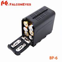 FALCON EYES 6pcs AA Battery Case Pack Power as NP-F970 for LED VIDEO LIGHT Panels or Monitor YN300 II,DV-160V