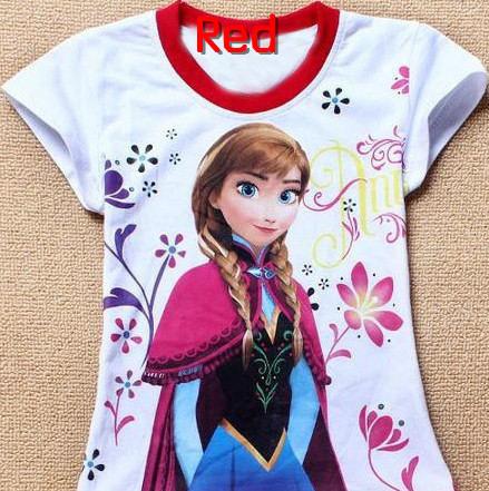 Free Shipping New 2014 Baby Girls Frozen Girl T Shirt Kids Short Sleeve T-shirt Children Summer Clothing One Piece Retail(China (Mainland))