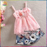 Sunshine Store #7A0122-1 4 pcs/lot  Pink Chiffon Shabby Flower Top and Flower Short Set Girls Clothing Set Children's Boutique
