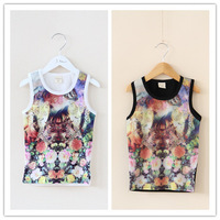 Hu sunshine Retail new 2014 baby & kids summer girls t-shirt +legging clothing set kids floral cothes sets children's 2pcs suits