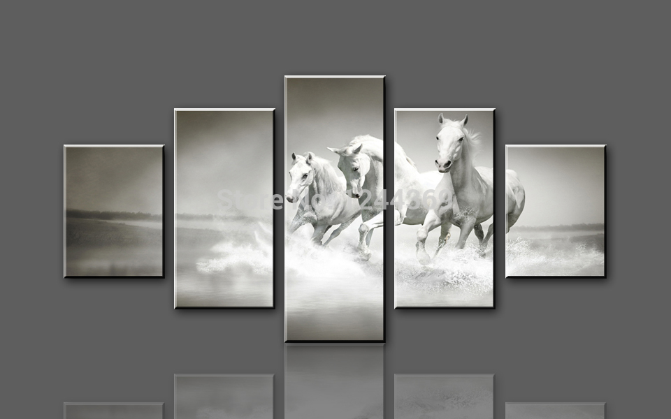 W707 3 White Horse Running 5 Panel Large Hd Canvas Print