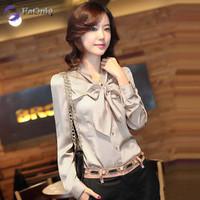 2014 new Spring Korean style women blouse OL slim bow chiffon blouse women free shipping P125