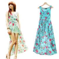 Summer Vintage Girl Floral Loose Bohemian Green Chiffon Dress Asymmetry Empire Maxi Plus Size Sexy Long Dresses For Female lyq76